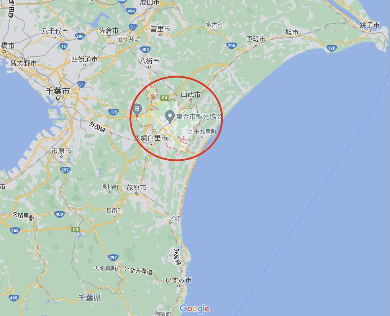 東金市の地図を掲載