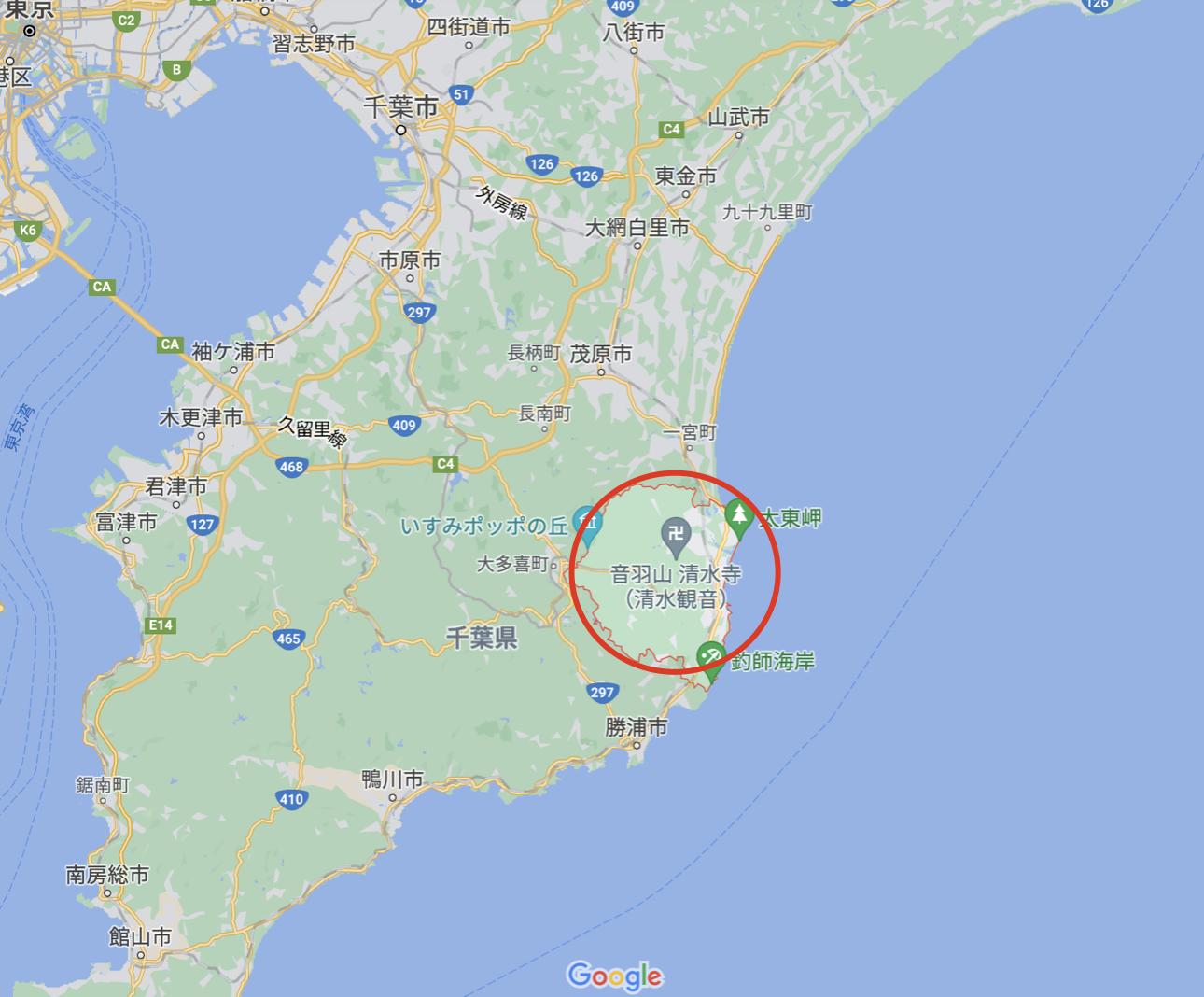 いすみ市を地図で紹介
